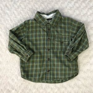 Baby Gap Green Plaid Flannel Shirt Size 3